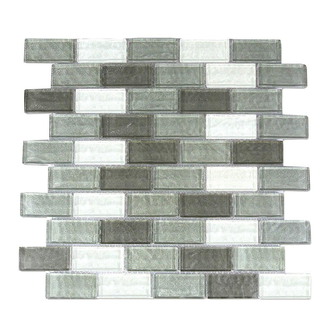 "Abolos- Geo 1"" x 2"" Glass Mosaic Backsplash Tile in Gray (4.9sqft / 5pc Box)"
