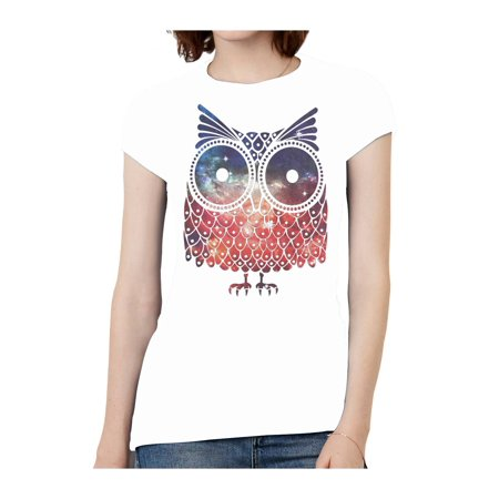 Womens Short-Sleeve Galaxy Owl T-Shirt