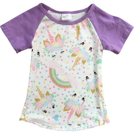 Flower Girl Kids T-shirt (Little Girl Kids Unicorn Rainbow Flower Raglan Cotton Shirt Top Tee T-Shirt Lilac 2T XS (201344))
