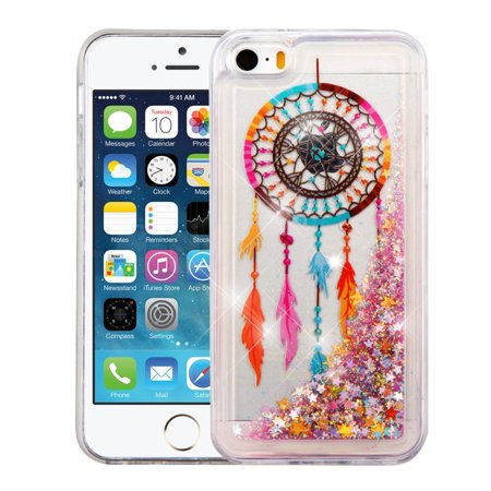 iPhone SE Case, iPhone 5S Case, by Insten Dreamcatcher/Gold Stars Quicksand Glitter Hybrid Hard PC/TPU Case Cover For Apple iPhone SE / 5 / 5S (5 S I Phone Covers)