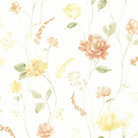 Brewster Hanne Yellow Floral Pattern Wallpaper