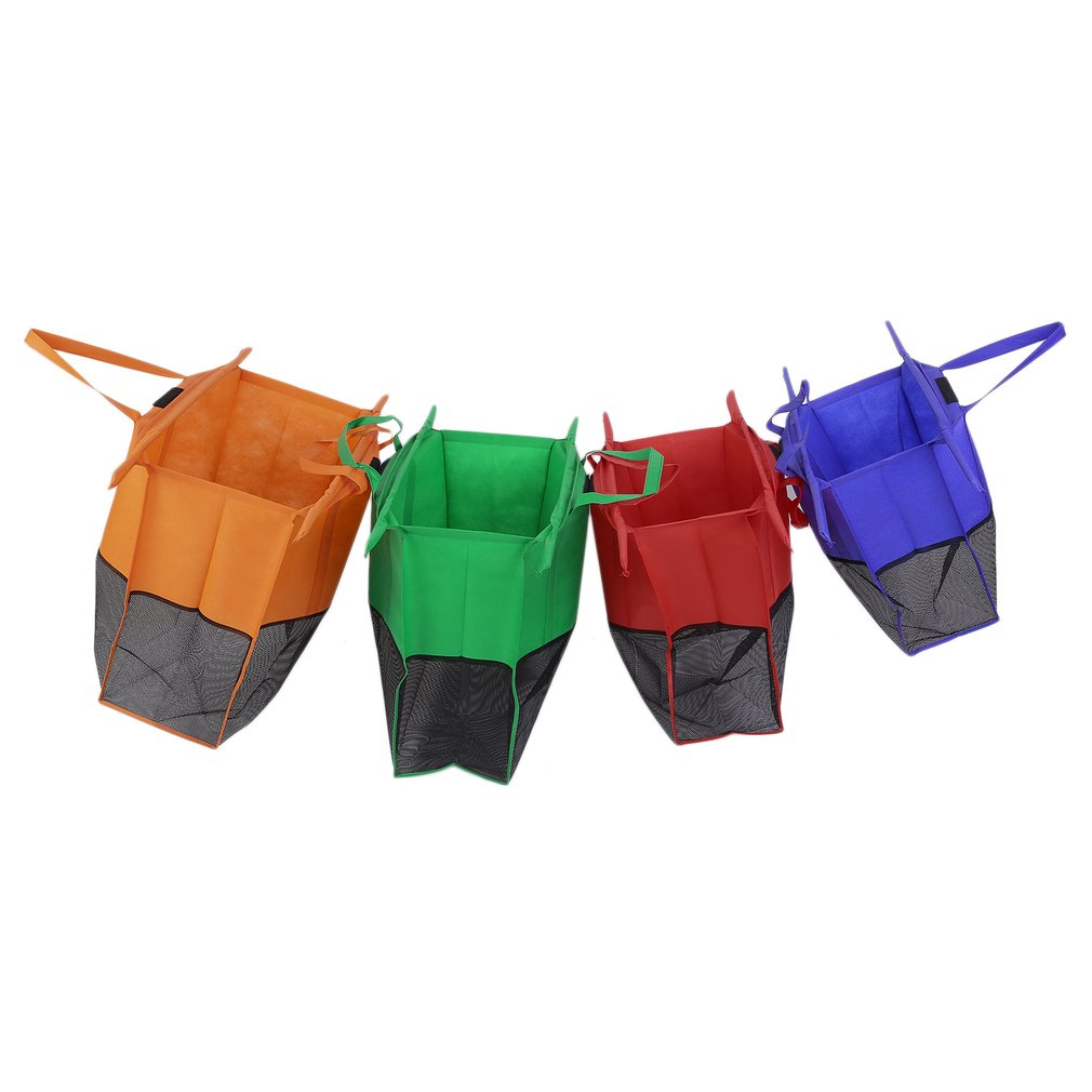 CNMODLE 4 Pcs Folding Non Woven Reusable Trolley Tote Supermarket Large Capacity Grocery Shopping Bag Cart Storage Bag