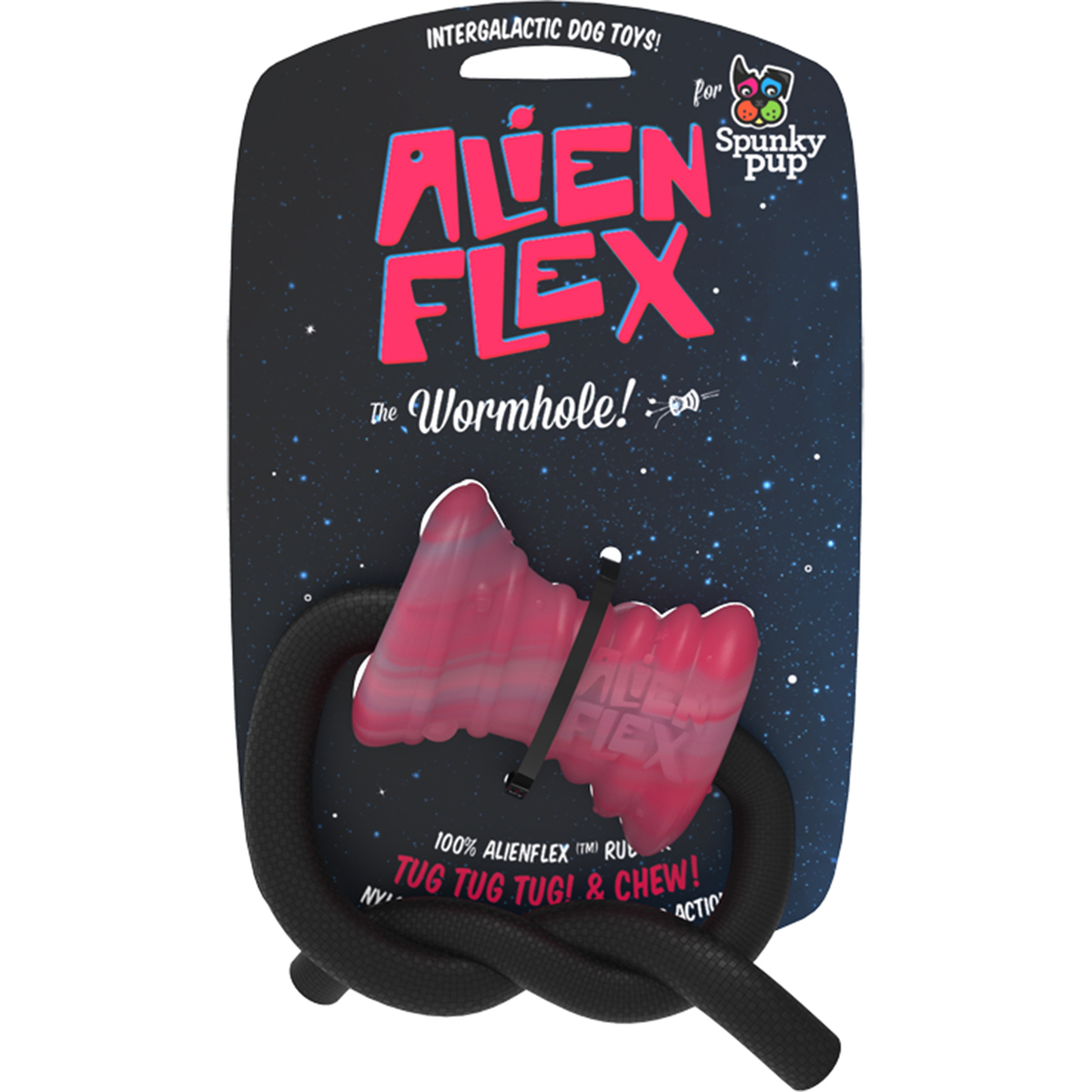 Spunky Pup Alien Flex Candy Scented Rubber Toy-Wormhole