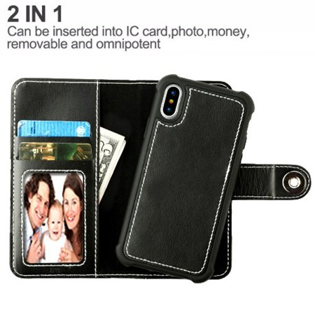 """Insten Detachable Magnetic Folio Flip Leather Wallet Flap Pouch Case Cover for Apple iPhone X XS edition 5.8"""" (2017) - Black - image 1 of 4"""