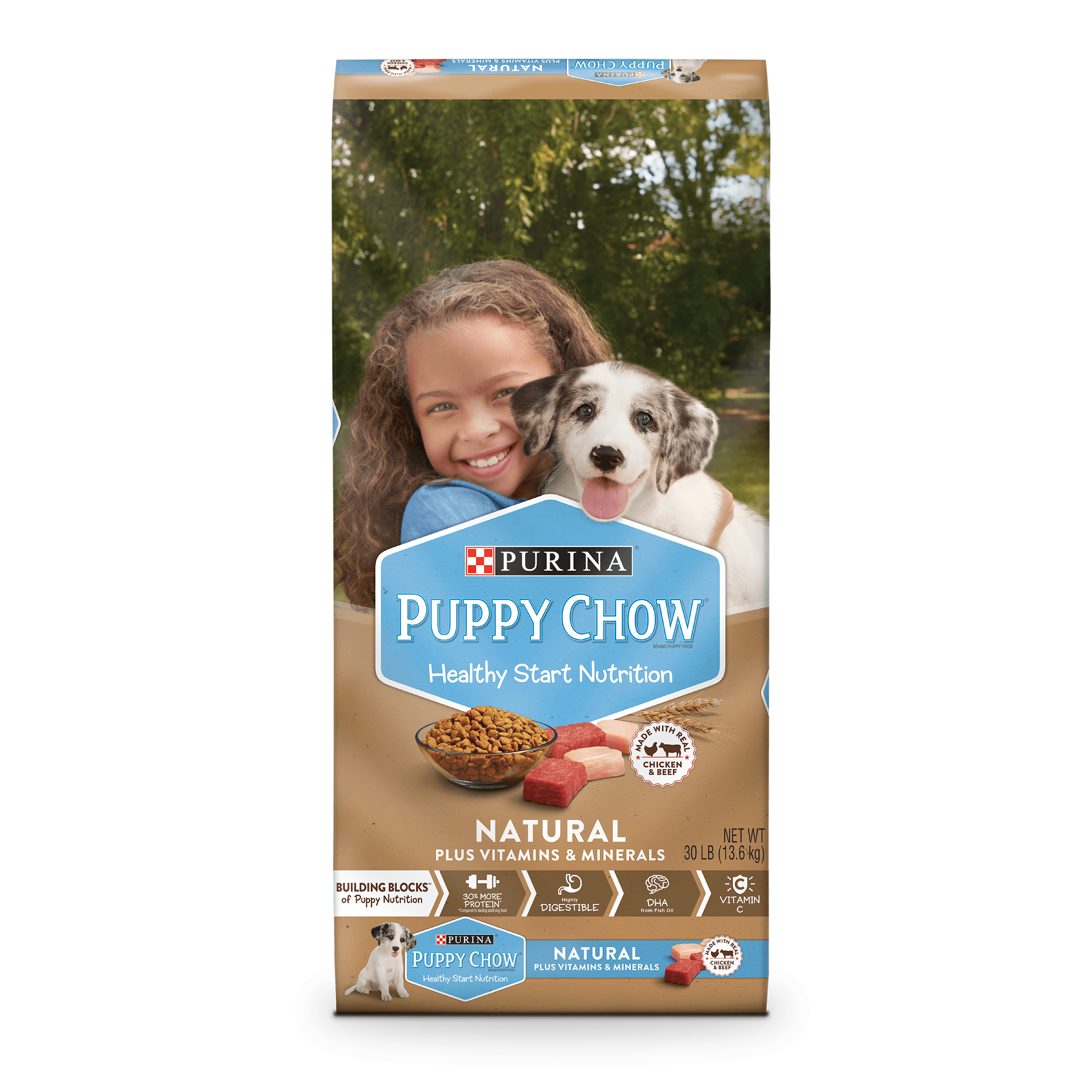Puppy Chow Natural With Real Chicken & Beef Plus Vitamins & Minerals Dry Puppy Food - 30 lb. Bag
