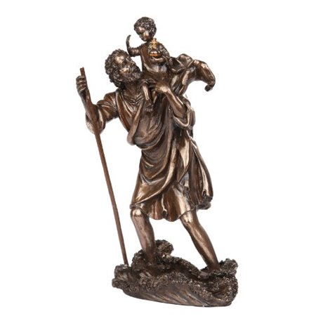 Child Bronze Figurine - 10 Inch Saint Christopher with Child Bronze Finish Statue Figurine