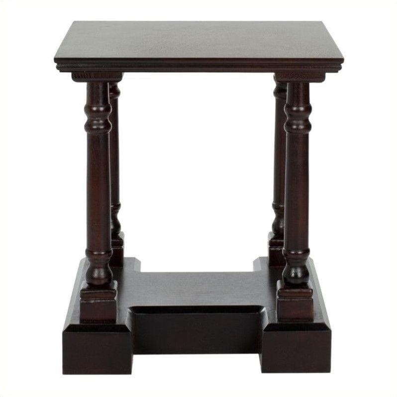 Safavieh Terry Wood End Table in Dark Cherry