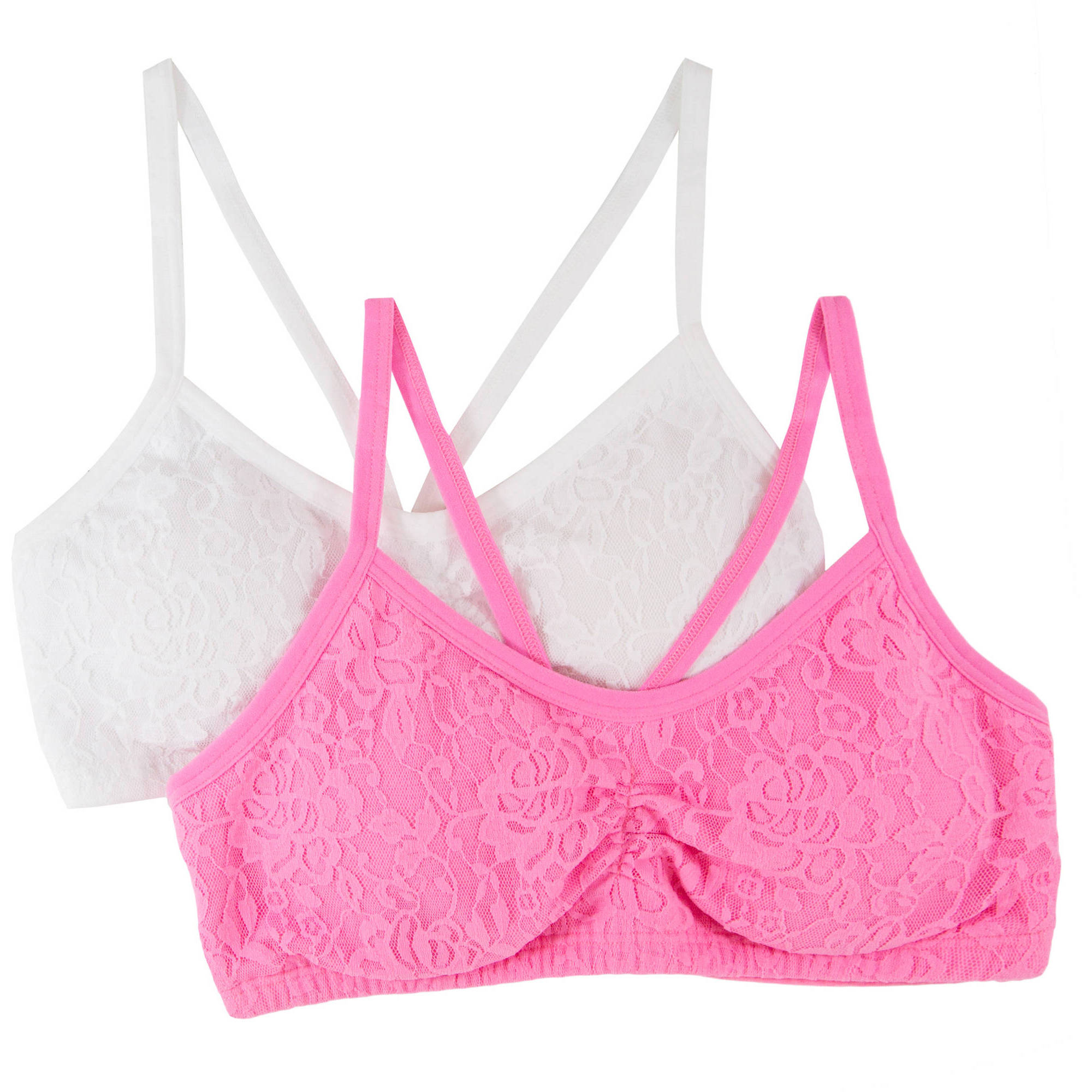 Fruit of the Loom Girls Lace Crop Top Bra, FT521, 2 Pack