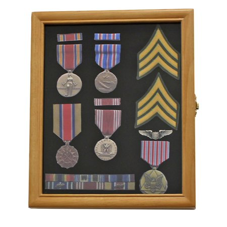 Military Medals, Pins, Award, Insignia, Ribbons Display Case Shadow Box Frame, Oak Finish, Crafted from solid wood, with hinged glass door..., By DisplayGifts Ship from US