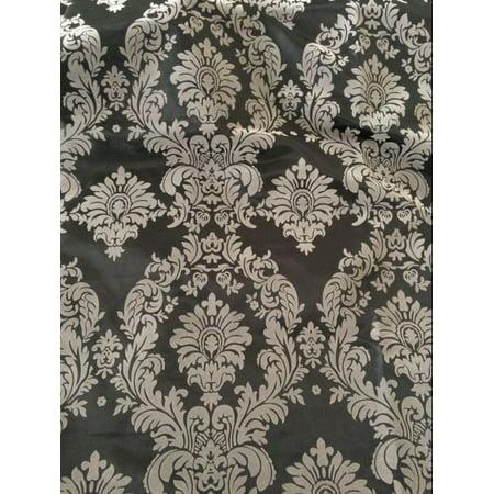 Grey Black Flocking Damask Taffeta Velvet Fabric 58