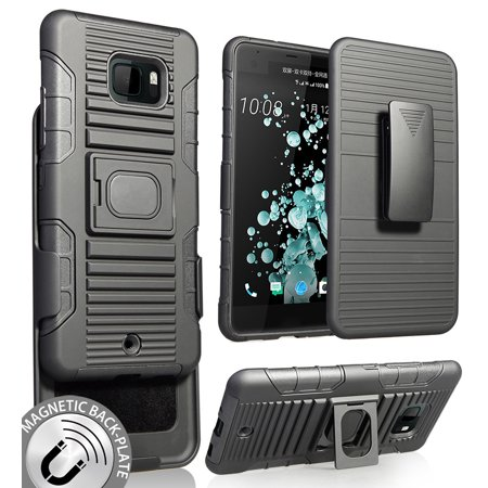 HTC U Ultra Case with Clip, Nakedcellphone Black Ring Grip Cover + Belt Hip Holster Stand [with Built-In Mounting Plate] for HTC U Ultra