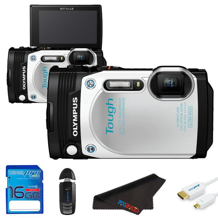 Olympus TG870 White Digital Camera + Pixi Starter Kit by Olympus