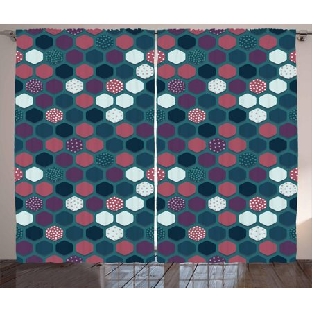 Geometric Curtains 2 Panels Set, Vibrant Hexagon Shapes with Ornamental Polka Dots Vintage Pattern, Window Drapes for Living Room Bedroom, 108W X 96L Inches, Dark Teal Plum Dried Rose, by Ambesonne ()