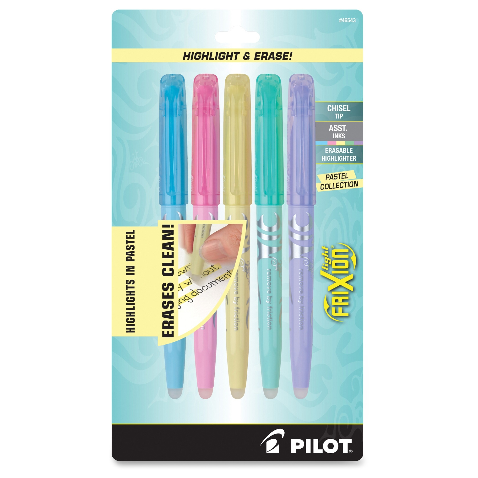 Frixion Light Pastel Erasable Highlighters - Chisel Marker Point Style - Yellow, Pink, Green, Purple, Blue Ink - 5 / Pack (pil-46543)