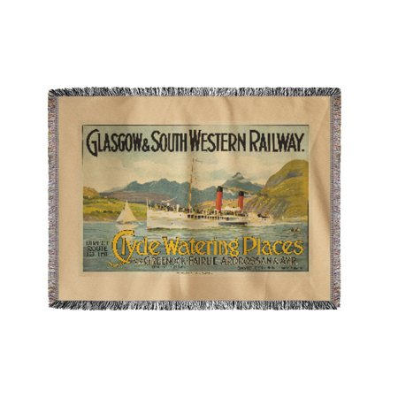 Clyde Watering Places Vintage Poster Scotland c. 1900 (60x80 Woven Chenille Yarn Blanket)