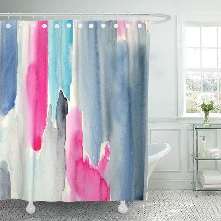 KSADK Colorful Aquarelle Hand Watercolor Color Block Abstract Artistic Blot Brush Brushprint Draw Shower Curtain Bathroom Curtain 66x72 - Drag Block