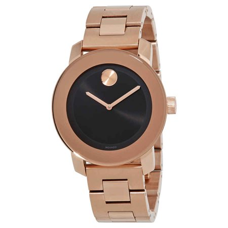 Movado Bold Black Sunray Dial Unisex Rose Gold Tone Watch 3600463 ()