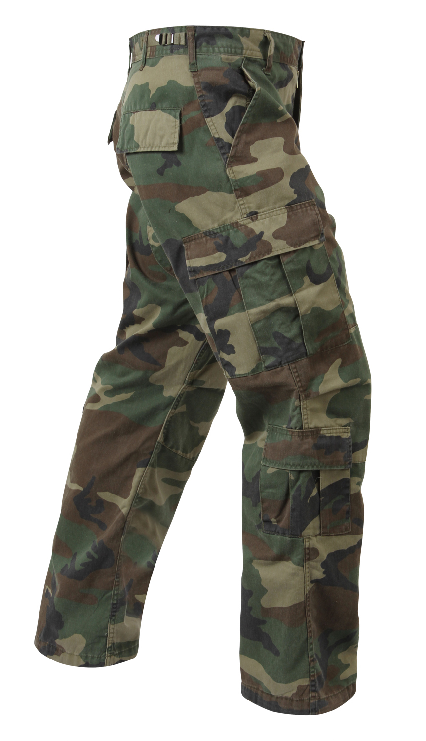 Click here to buy Mens Vintage Paratrooper Cargo Pants Woodland Camo BDUs by Rothco.