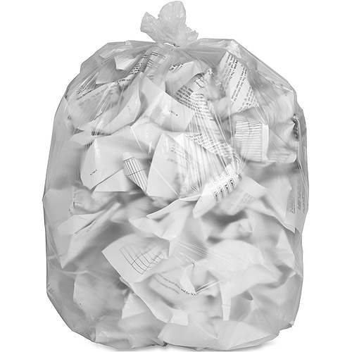 Genuine Joe High Density Trash Bags, Clear, 56 gal, 200 count