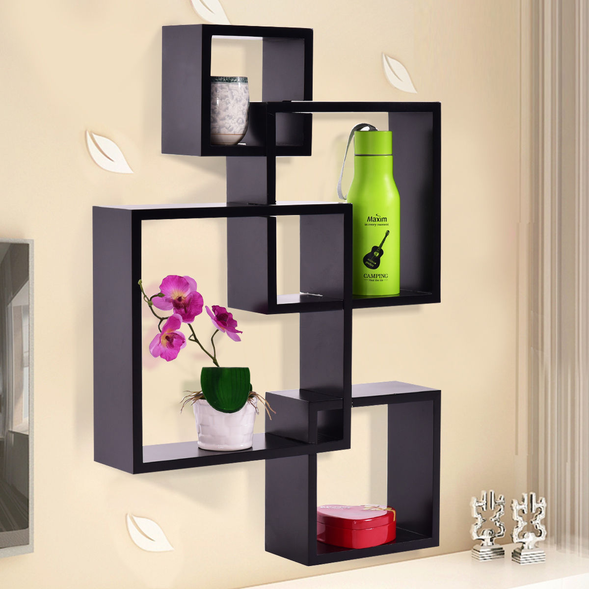 Costway Black Intersecting 4 Square Floating Shelf Wall Mounted Home Furniture Decor by Costway