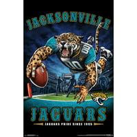Jacksonville Jaguars Liquid Blue Designs 22'' x 34'' End Zone Poster