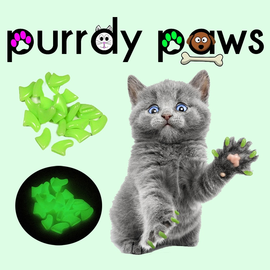 6 Month Supply - Purrdy Paws Ultra Glow Soft Nail Caps for Medium Cats Claws - Extra Adhesives