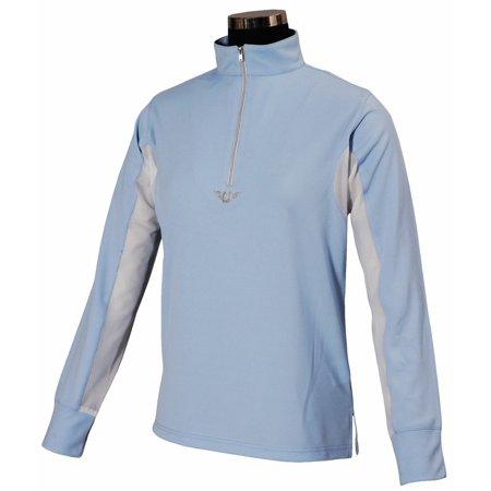 Tuffrider Ladies Show Shirt - TuffRider Ladies Ventilated Technical Long Sleeve Sport Shirt - Glacier Blue - Medium