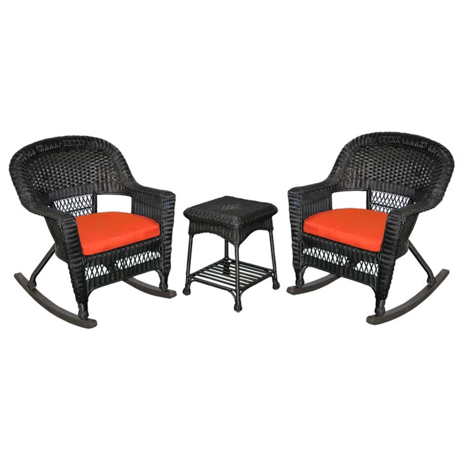 3-Piece Tiana Black Resin Wicker Patio Rocker Chair & Table Furniture Set - Red Cushions