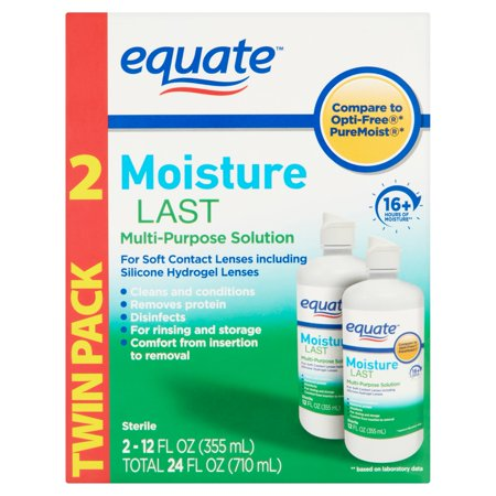 Equate Moisture Last Multi-Purpose Contact Lense Solution, 12 Oz, 2 Pk - Theatrical Contact Lenses