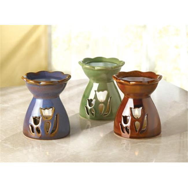 SWM 33646 3 3/4'' Dia.  x 4 1/2'' H Flower Oil Warmers - Porcelain