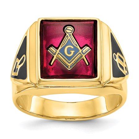14kt Yellow Gold Mens Synthetic Red Ruby Masonic Freemason Mason Band Ring Size 10.00 Man Fine Jewelry Dad Mens Gift - Gold Ruby Eyes