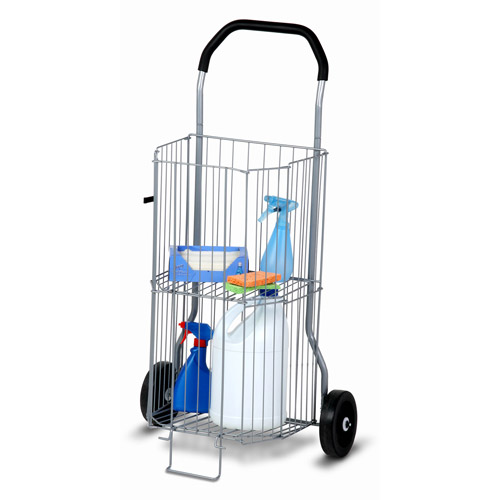 Honey Can Do Steel Folding 2-Tier Utility Rolling Cart, Chrome