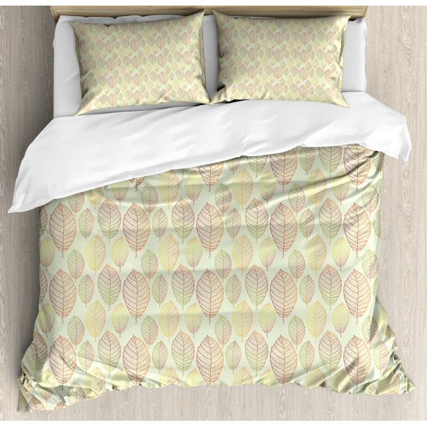 Muted Colors Duvet Cover Set, Nature Themed Pattern of Outline Detailed Leaves, Decorative ...