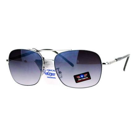 SA106 Mens Air Force Rectangular Aviator Metal Rim Sunglasses Silver (Air Sunglasses)