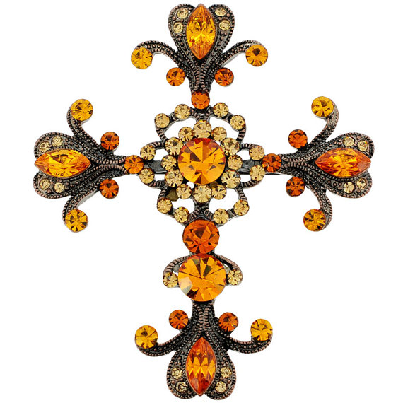 Topaz Brown Floral Style Crystal Cross Pin Brooch And Pendant by