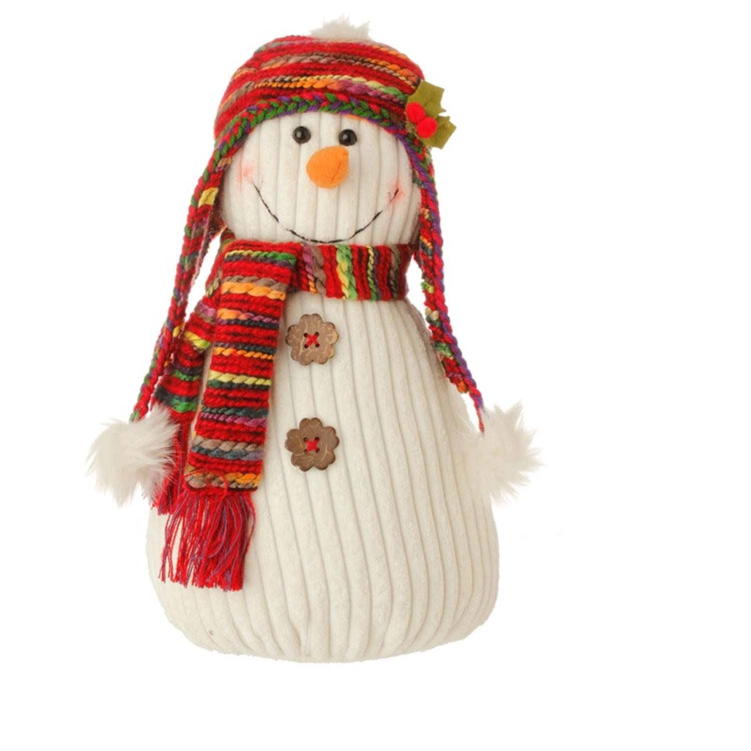"18"" Bohemian Holiday Plush Snowman w/ Colorful Knit Hat and Scarf Christmas Decoration"