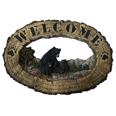 Pine Ridge Black Bear Family Wall Hanging Plaque Home Decor Inscribed Welcome Figurine Collectibles - Barefoot Animals Wildlife Decoration - Country Bear Lodge Gift - Bbq Decorating Ideas