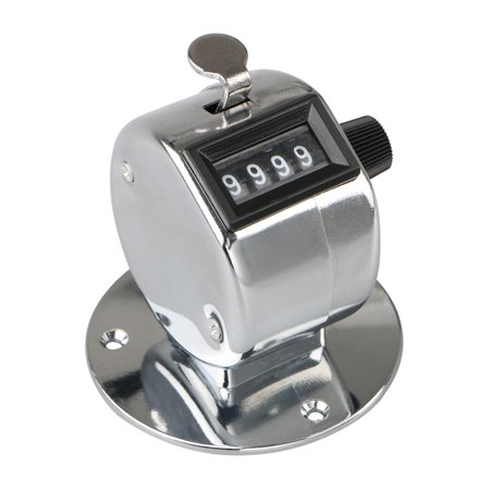 Chrome Counter - TSV Tally Counter Hand Held Clicker 4 Digit Chrome Palm Golf People Counting Club