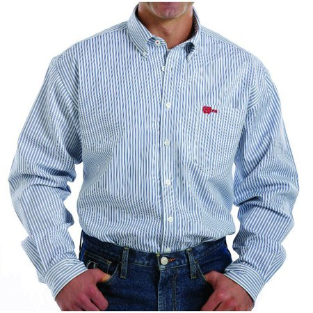 Cinch Apparel Mens Blue And White Striped Flame Resistant