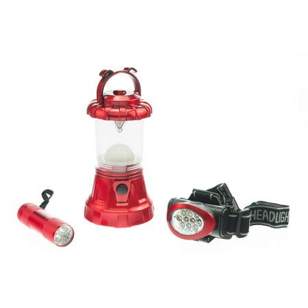 SE FL806-3RR 3-Piece Red Camping Light Set: 11-LED Lantern, 10-LED Headlamp & 9-LED (Se Mh1047l Illuminated Multi Power Led Head Magnifier)