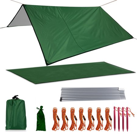 Juslike Camping Tarp, Waterproof Camping Tarp, Multifunctional Tent Footprint for Camping, Hiking and Survival Gear, Lightweight and