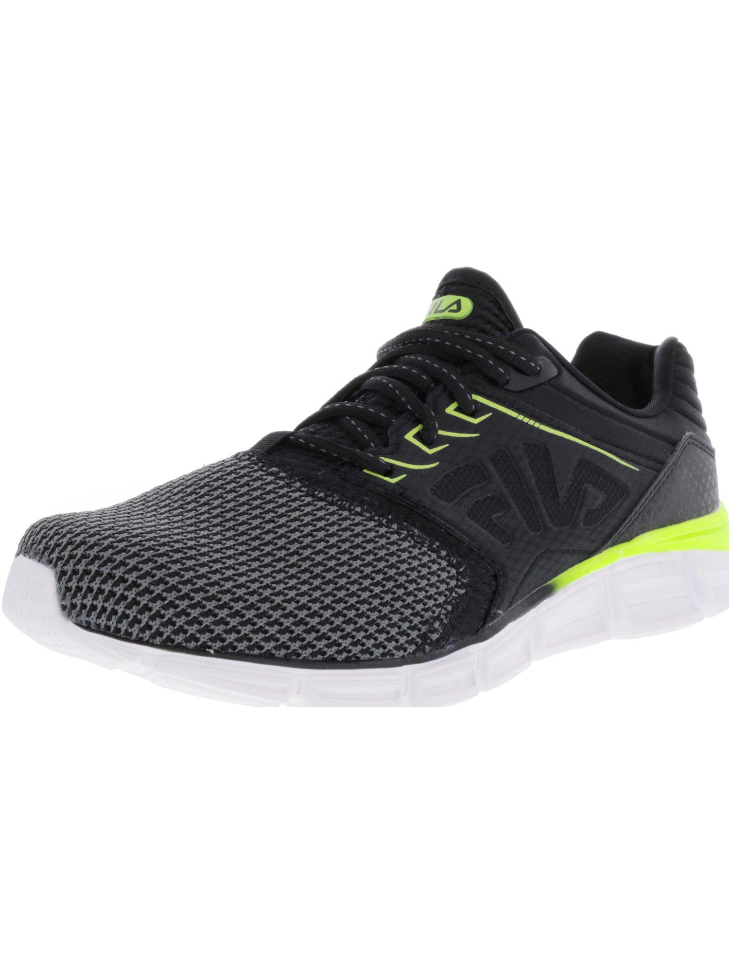 Fila Men's Memory Multiswift 2 Black / Safety Yellow White Ankle-High Running Shoe - 8M