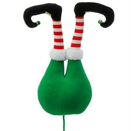 Green Plush Elf Butt Pick Accent Christmas Tree Ornament Decor, 20 Inch x 9 inch x 5.5 inch on Bendable Stick by Raz ()