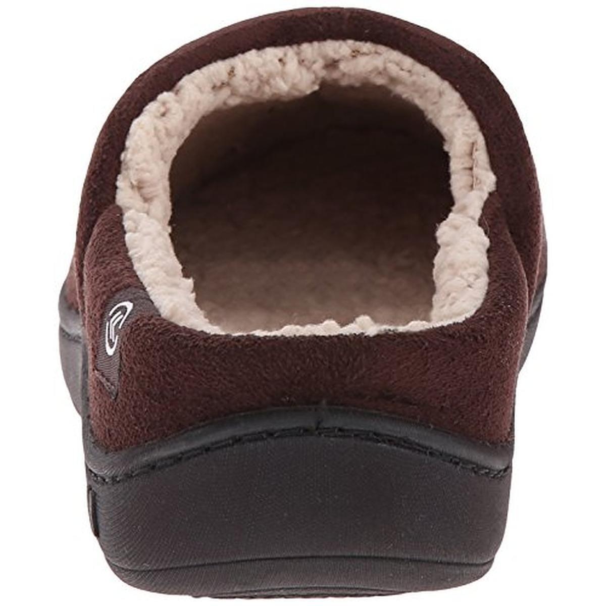 Isotoner Men's Chocolate Microsuede Hoodback Slipper
