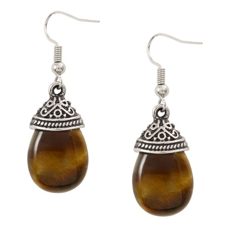 Falari Natural Stone Tear Drop Shaped Earring Tiger Eye