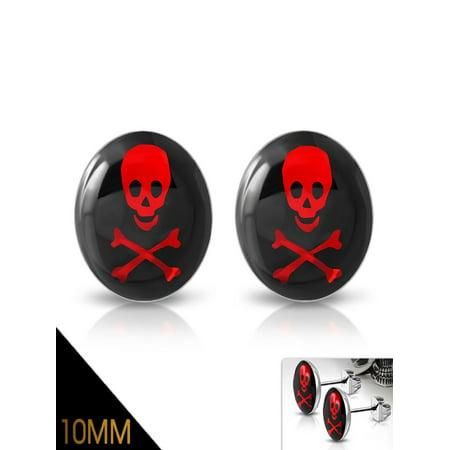 10mm Stainless Steel 3 tone Crossbones Skull Circle Stud Biker Earrings pair