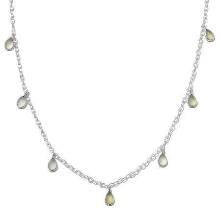 Women's Green Chalcedony 925 Sterling Silver Drop Charm Necklace 18