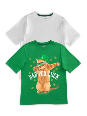 Wonder Nation Boys 4-18 & Husky St. Patrick's Day Short Sleeve Graphic T-Shirt, 2-Pack