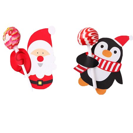 Holiday Time 50pcs Old Man Penguin Christmas Party Lollipop Unique Sugar Paper Card Holder Stand Ornaments