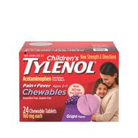 Children's Tylenol Chewables Pain + Fever Relief, Grape, 24 ct